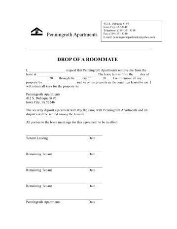 Penningroth Drop Roomate Form