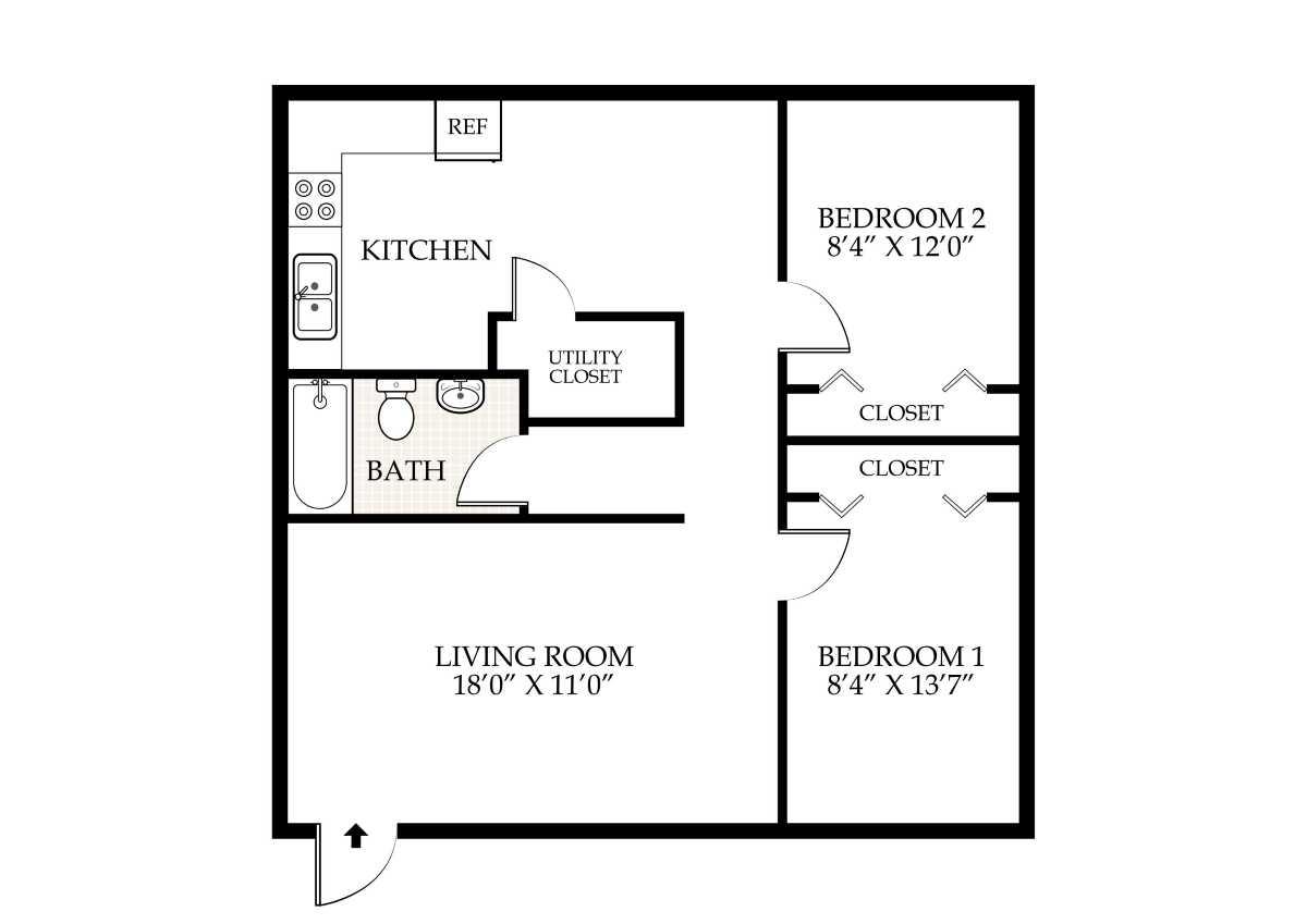 Bottom Unit   2 Bed 1 Bath. Penningroth Apartments Iowa City Iowa