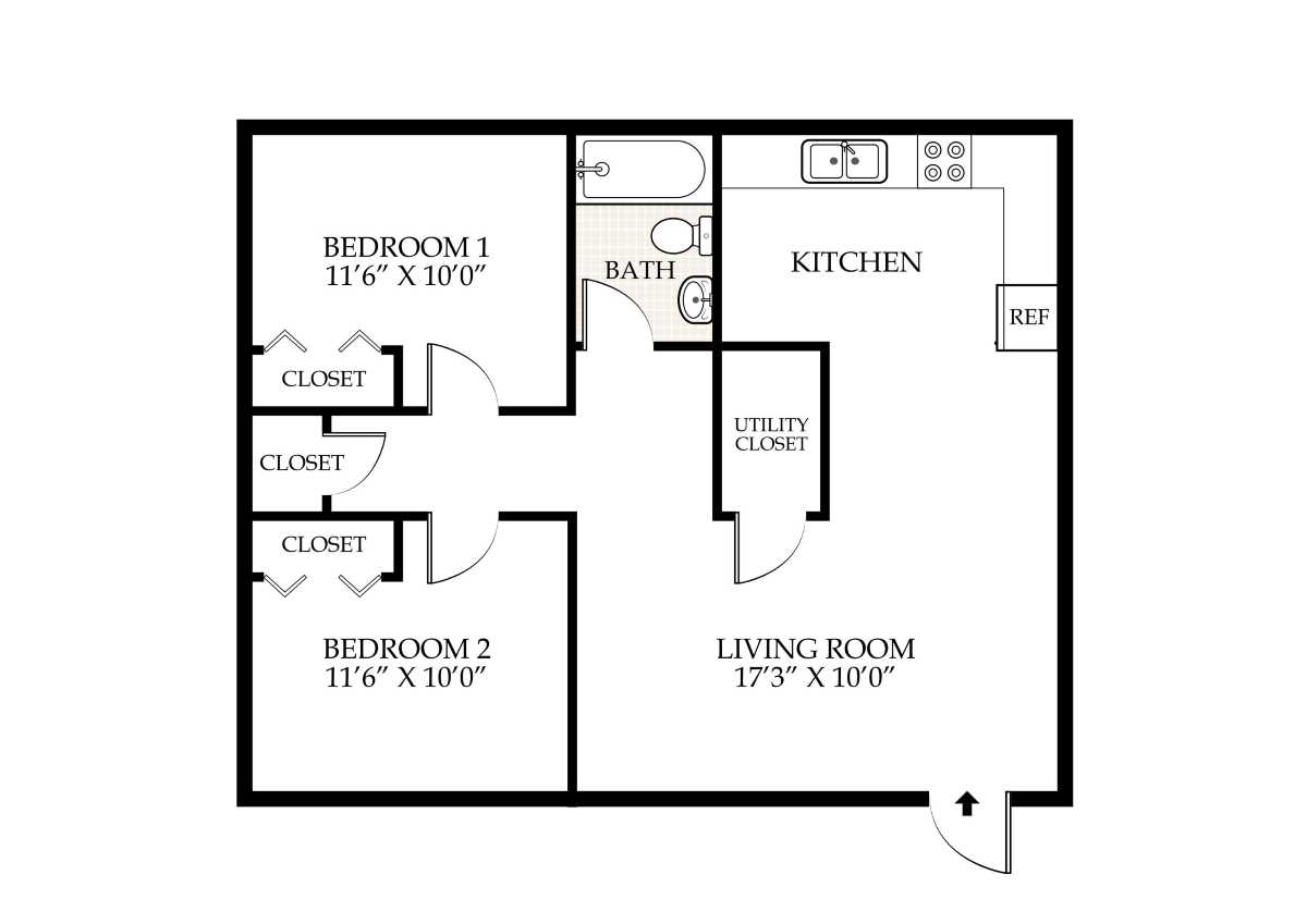 2 Bed 1 Bath  Duplex   715 Bradley St Floor Plan Penningroth Apartments. Penningroth Apartments Iowa City Iowa